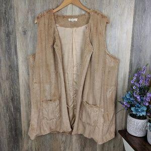C.O.C Furry Plus Size Lined Vest 2XL
